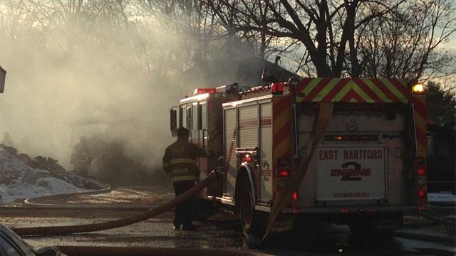 Crews battled a garage fire in East Hartford. (WFSB)