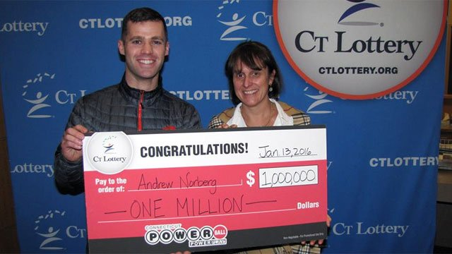 Andrew Norberg claimed his $1,000,000 Powerball Prize. (CT Lottery)