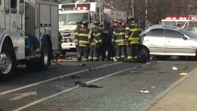 Howard Avenue is closed near Kimberly Avenue in New Haven. (WFSB)