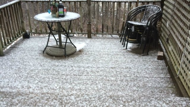 Snow is covering porches in the hills of northern Connecticut and Massachusetts. (iWitness photo)