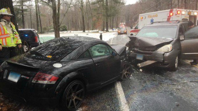 A two-vehicle crash was reported in the area of 332 Old Stafford Rd. on Saturday morning. (Tolland Alert)
