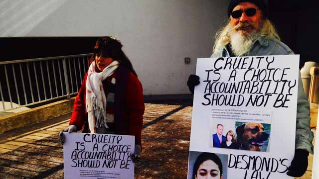 Protesters showed up outside of the court house. (WFSB photo)