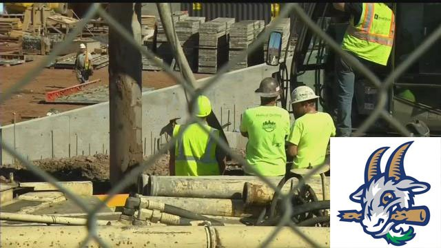 Construction continues on Dunkin Donuts Park. (WFSB)