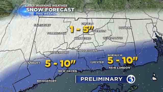 Predicted snowfall totals as of Wednesday afternoon (WFSB)