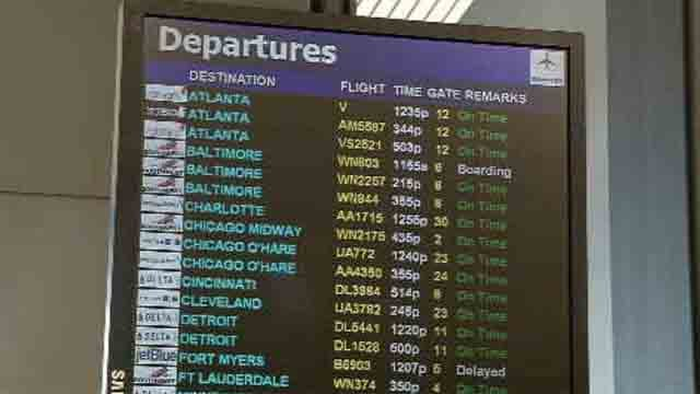 Most flights departing from Bradley on Thursday were on time (WFSB)