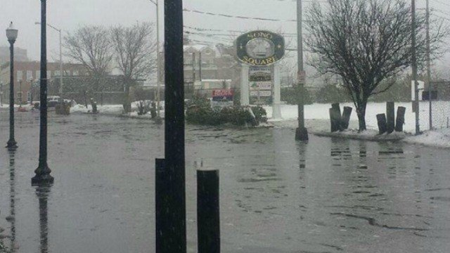 Police warned drivers about flooding on Water Street. (Norwalk Police Department)