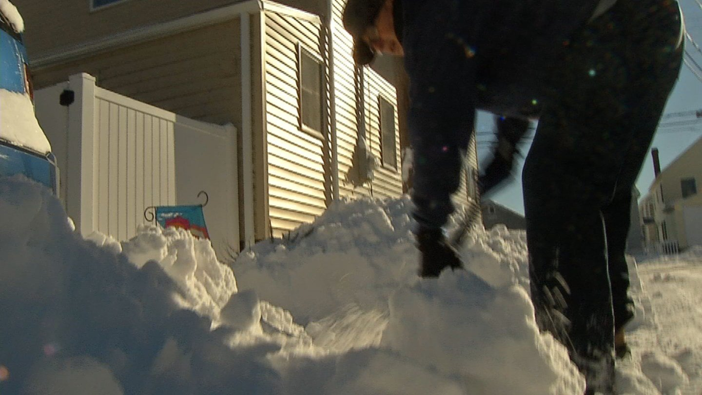 Sunday was the first day of shoveling this year for many Milford residents. (WFSB)