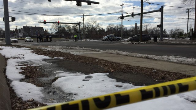 The intersection of Townsend and Forbes avenues is closed after crash. (WFSB)