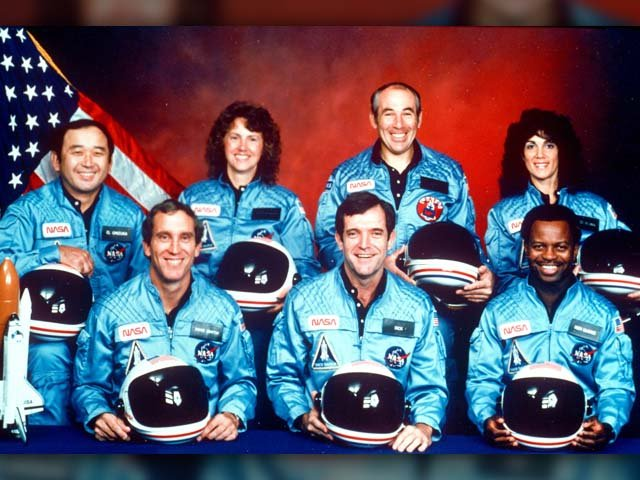 This 1986 file photo provided by NASA shows the crew of the space shuttle Challenger. From left are Ellison Onizuka, Mike Smith, Christa McAuliffe, Dick Scobee, Greg Jarvis, Ron McNair and Judith Resnik. (Source: AP Photo/NASA)