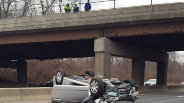 Here's one of the vehicles involved in the crash on I-91. (Joe Golino)