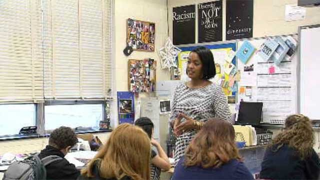 Jahana Hayes is in the running for the nation's Teacher of the Year (WFSB)