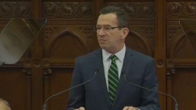 Gov. Dannel P. Malloy gives his State of the State. (WFSB)