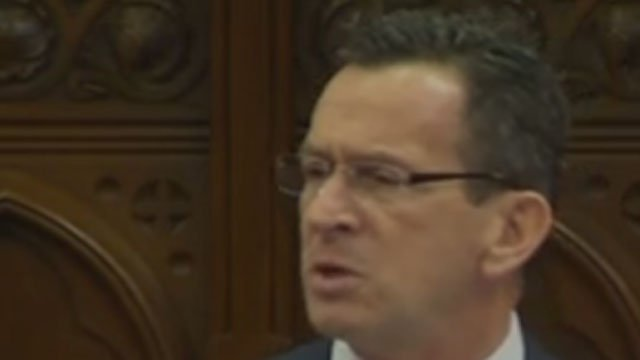 Gov. Dannel P. Malloy delivers his 2016 State of the State Address. (WFSB)