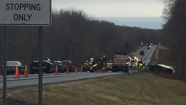 A tractor-trailer rollover is causing issues for drivers on Route 2 in Marlborough. (WFSB)
