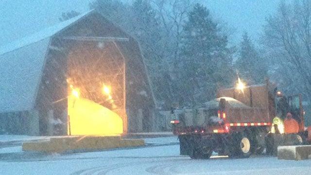DOT trucks filling up with salt at a garage in East Hartford. (WFSB photo)