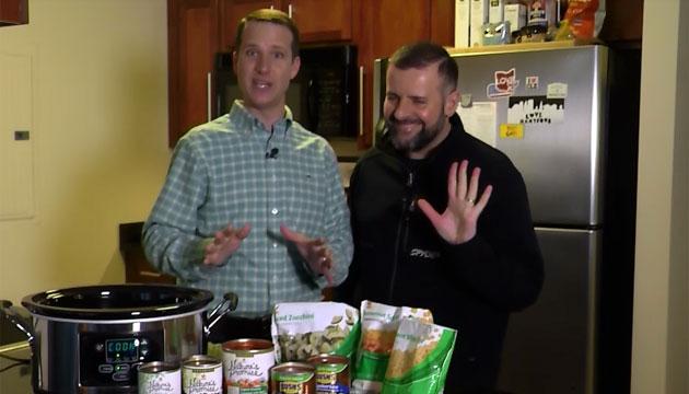 Mark Zinni and his husband Garith show us hiscrockpot vegetarian chili