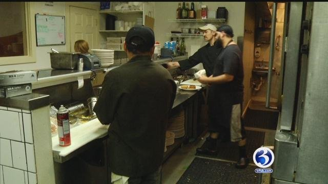 Cooks at Salute restaurant prepare for another night of the Taste of Hartford. (WFSB)