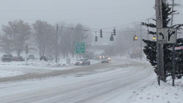Snow coating the roads in Norwich. (WFSB photo)
