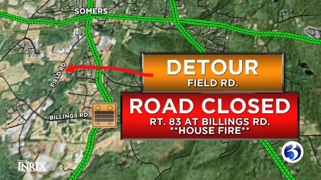 House fire closes Route 83 in Somers. (WFSB)