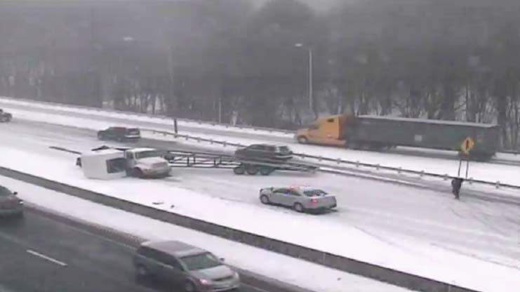 Tractor-trailer crash reported on I-95 in Milford. (CT DOT)