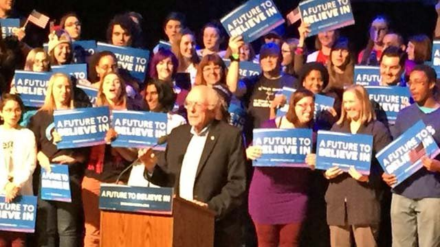 Bernie Sanders rallies in New Hampshire on Monday (WFSB)