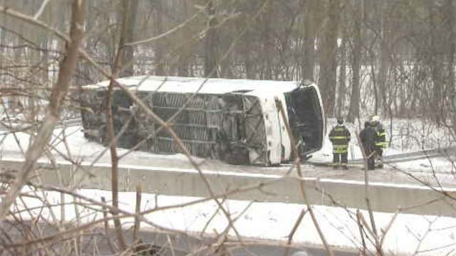 A bus headed to the casino crashed in Madison on Monday, sending dozens to area hospitals (WFSB)