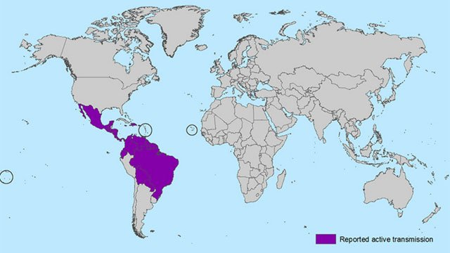 All Countries and Territories with Active Zika Virus Transmission. (CDC)