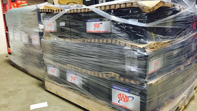 With more calls expected this weekend due to the bitter cold, more batteries were delivered to AAA in West Hartford on Friday. (AAA)