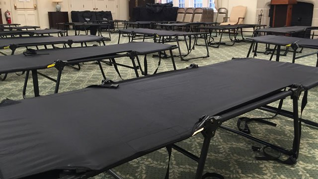 Cots were setup inside the Asylum Hill Congregation Church in Hartford. (WFSB)