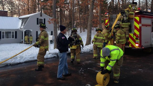 House fire reported on Surrey Lane in Glastonbury. (WFSB)