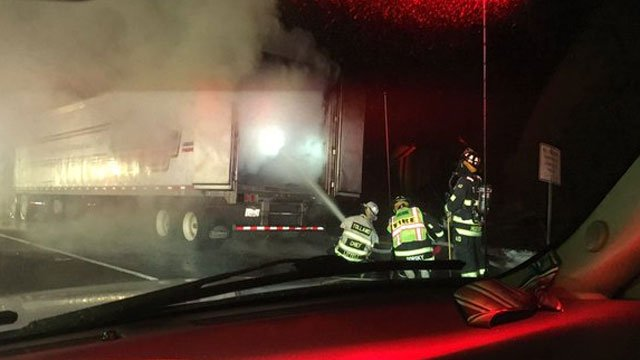 The truck which was hauling pallets of chicken caught fire. (Tolland Alert)