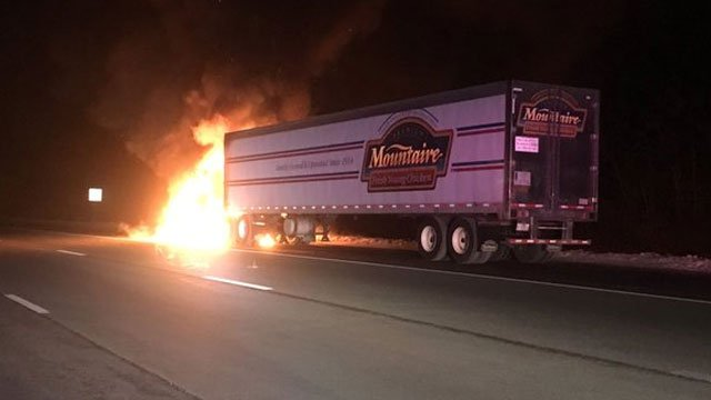 A tractor trailer caught fire on I-84 near exit 68. (Tolland Alert)