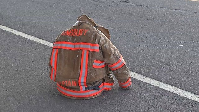 A frozen jacket demonstrates the issues faced by firefighters in the bitter cold. (WFSB)