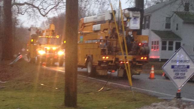 Crews repair downed power lines on Route 145 in Clinton (WFSB)