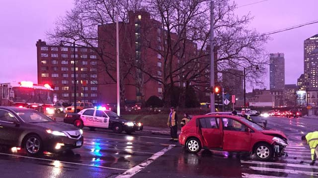 A crash in the area of Broad Street and Farmington Avenue in Hartford has caused heavy delays. (WFSB)