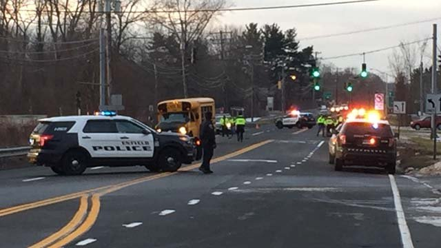 A man was struck and killed by a school van in Enfield on Wednesday morning, according to police. (WFSB photo)
