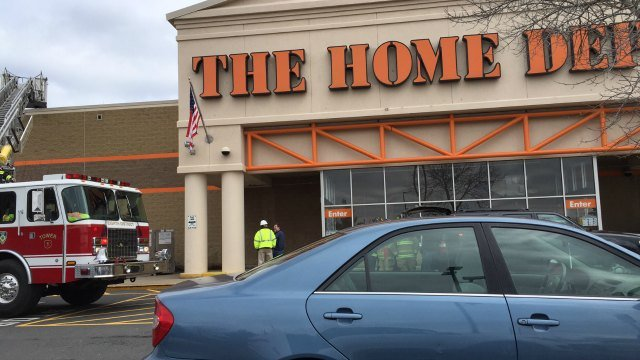 Gas leak evacuates Home Depot in Manchester. (From: Fran Miele)