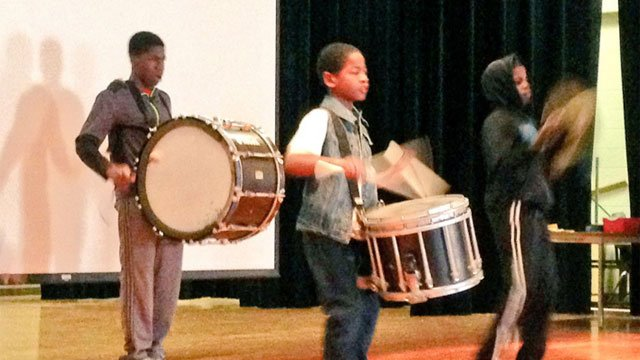 Members of Hartford's Proud drum Corp prepare for Stomp the Violence tomorrow. (WFSB)