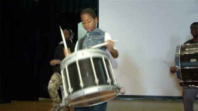 Hartford's Proud Drill, Drum and Dance Corps helped organize the Stomp the Violence event on Saturday (WFSB)