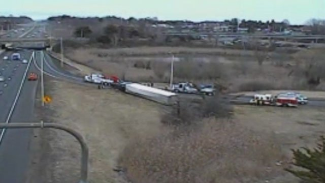 I-84 on-ramp in Southington closed because of a tractor-trailer crash. (DOT)