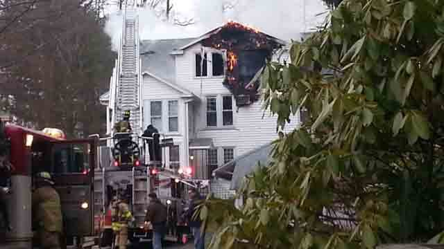 Crews battled a house fire in Berlin on Tuesday afternoon (iwitness: Tom Fecteau)