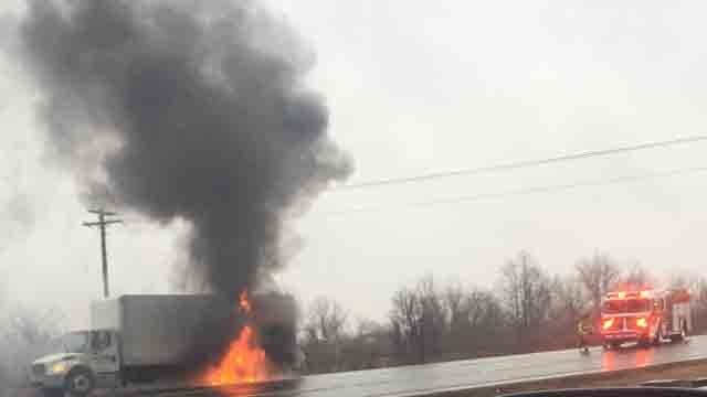 A truck fire caused delays on I-91 south in North Haven on Tuesday (iwitness photo)