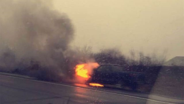 Morgaynn Gorski took this photo of the vehicle fire on I-91 in Middletown.