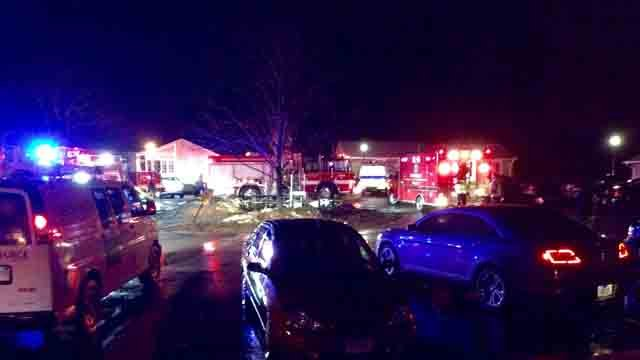 Crews said the fire broke out at the complex on Maple Court in Killingly at about 8 p.m. on Wednesday. (iwitness--Brennen Czmyr)