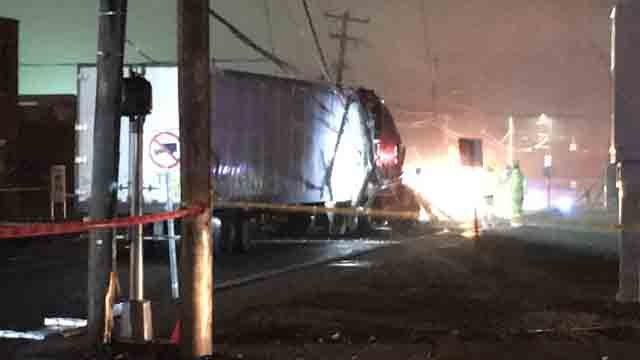 A tractor trailer took down some wires in East Hartford on Wednesday evening (WFSB)