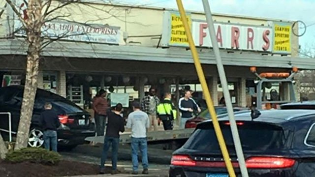 A vehicle crashed into a store in Manchester on Thursday. (Patricia Cushman)