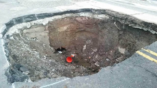 A storm sewer was dug up for repairs on Asylum Avenue. (Hartford police photo)