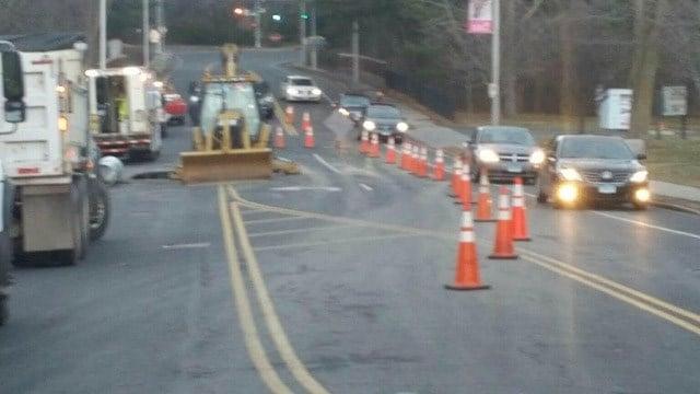 Traffic was reduced to one lane on Asylum Avenue. (Hartford police photo)