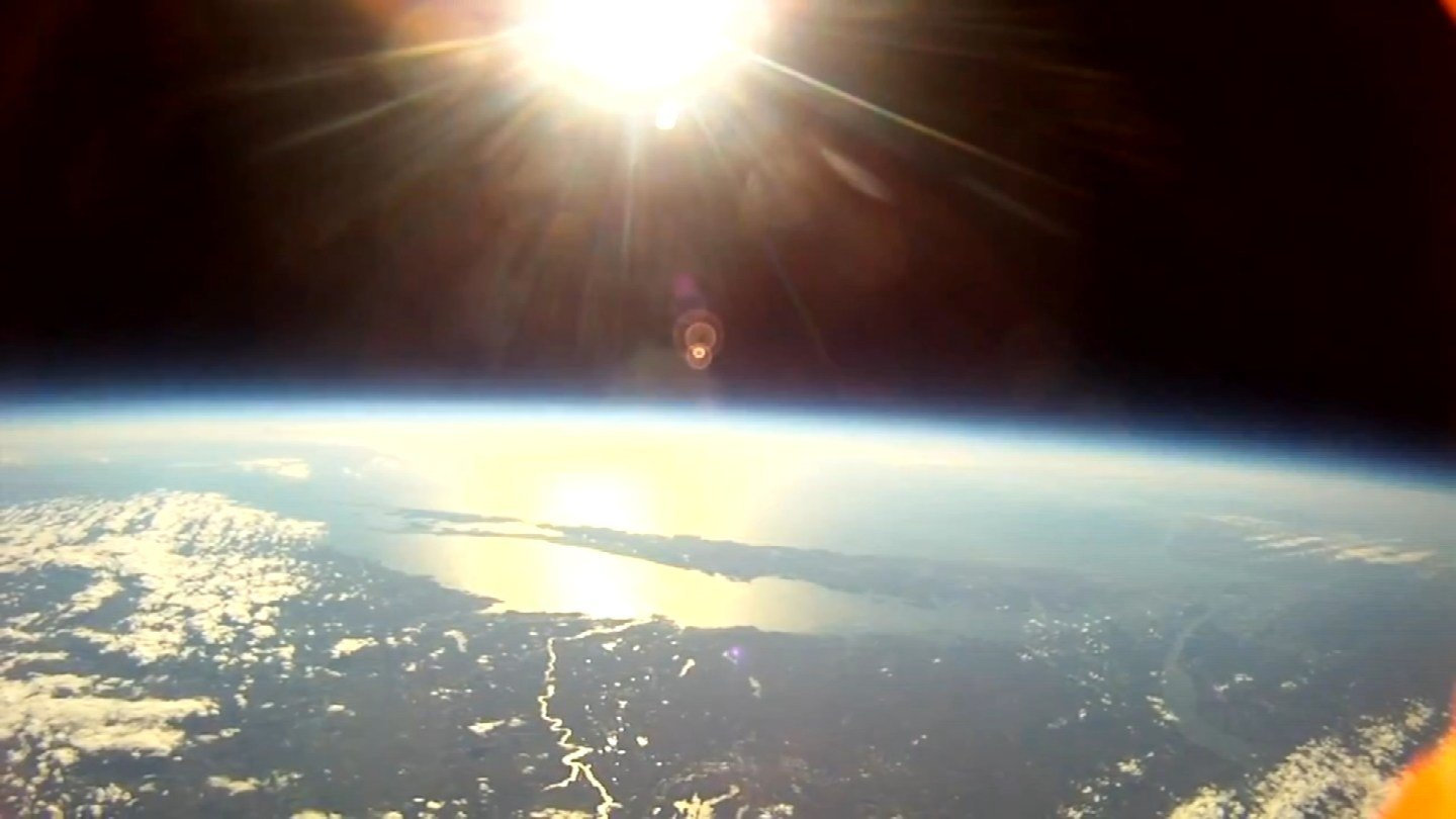 A view from the GoPros before a box containing beer-making materials parachuted into Granby. (Mike Prestas photo)