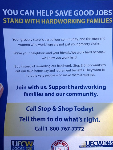On Saturday afternoon, union representatives stationed themselves outside locations around the state, asking customers to support their local employees. (WFSB)